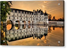 Chenonceau Castle In The Twilight Panorama Acrylic Print