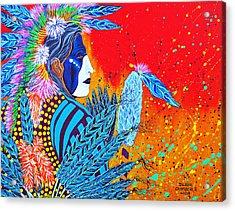 Cherokee Dancer Acrylic Print by Debbie Chamberlin