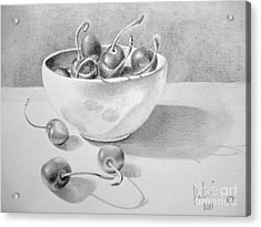 Acrylic Print featuring the painting Cherries In White Bowl by Eleonora Perlic