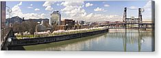 Cherry Blossom Along Portland Oregon Waterfront Panorama Acrylic Print