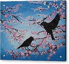 Cherry Blossom Birds Acrylic Print by Cathy Jacobs