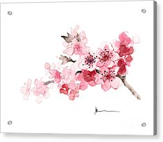 Cherry Blossom Branch Watercolor Art Print Painting Acrylic Print by Joanna Szmerdt