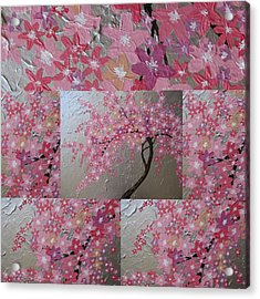 Cherry Blossom Collage Acrylic Print by Cathy Jacobs