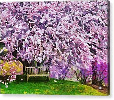 Acrylic Print featuring the painting Cherry Blossom by Georgi Dimitrov