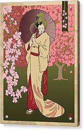 Cherry Blossom Acrylic Print by H James Hoff
