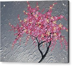 Cherry Blossom In Pink Acrylic Print by Cathy Jacobs