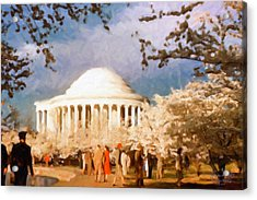 Cherry Blossom Jefferson Memorial 1950s Acrylic Print by Spyder Webb