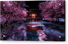 Cherry Blossom Tea House Acrylic Print