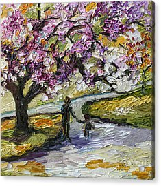 Cherry Blossom Tree Walk In The Park Acrylic Print by Ginette Callaway