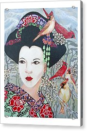 Acrylic Print featuring the painting Cherry Blossoms by Suzanne Silvir