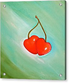 Cherry Hearts Acrylic Print by Heather Matthews