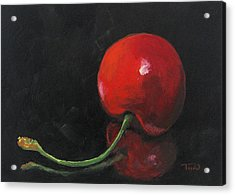 Cherry On Black Acrylic Print by Torrie Smiley