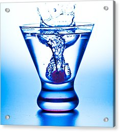 Acrylic Print featuring the photograph Cherry Splash With Blue Over-tones by John Hoey