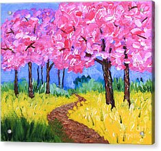 Cherry Trees And Field Mustard After The Rain Acrylic Painting Acrylic Print
