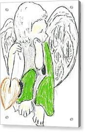 Cherub With Leaf Acrylic Print by Michael Snincsak
