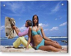 Cheryl Tiegs Modeling A Bikini At A Beach Acrylic Print