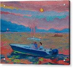 Chesapeake Bay Twilight With Moon Acrylic Print
