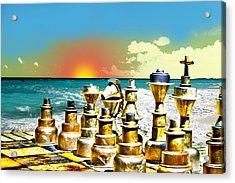 Chess On Beach Acrylic Print by Frank Savarese