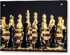 Chess Pieces On Board Acrylic Print by Elena Elisseeva