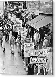 Chessman Execution Protesters Acrylic Print by Underwood Archives