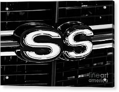 Chevelle Ss Super Sport Emblem Black And White Picture Acrylic Print by Paul Velgos