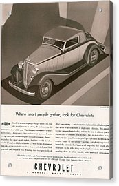 Chevrolet 1933 1930s Usa Cc Cars Acrylic Print by The Advertising Archives