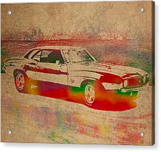 Chevrolet Camaro Watercolor Portrait On Worn Distressed Canvas Acrylic Print by Design Turnpike