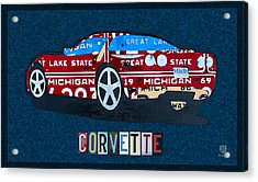 Chevrolet Corvette Recycled Michigan License Plate Art Acrylic Print by Design Turnpike