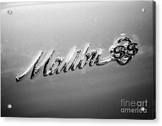 Chevrolet Malibu Ss Emblem Black And White Picture Acrylic Print by Paul Velgos