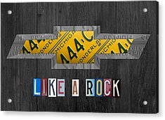 Chevrolet Vintage Logo License Plate Art Like A Rock On Wood Boards Acrylic Print by Design Turnpike