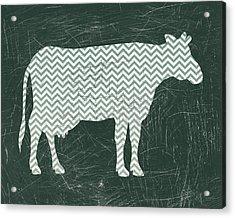 Chevron Cow In Green Acrylic Print