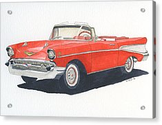 Acrylic Print featuring the painting Chevy Bel Air Convertible 57 by Eva Ason