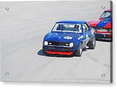 Chevy Camaro On Race Track Watercolor Acrylic Print