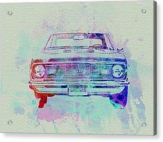 Chevy Camaro Watercolor 2 Acrylic Print by Naxart Studio