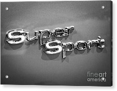 Chevy Super Sport Emblem Black And White Picture Acrylic Print by Paul Velgos