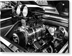 Chevy Supercharger Motor Black And White Acrylic Print