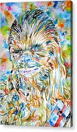Chewbacca Watercolor Portrait Acrylic Print