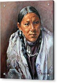 Cheyenne Woman Acrylic Print by Synnove Pettersen