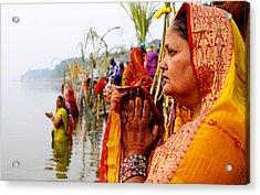 Chhath Prayer Acrylic Print by Money Sharma