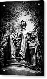 Chicago Abraham Lincoln Sitting Statue Black And White Acrylic Print by Paul Velgos