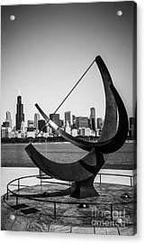 Chicago Adler Planetarium Sundial In Black And White Acrylic Print by Paul Velgos