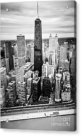 Chicago Aerial With Hancock Building In Black And White Acrylic Print by Paul Velgos