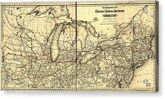 Chicago And Canada Southern Railway Route Map  Acrylic Print