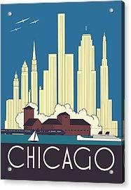 Chicago Art Deco Skyline Acrylic Print by Josef Spalenka