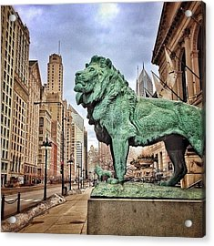 Chicago Art Institute Lion Statue Acrylic Print