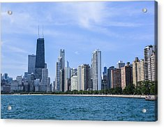 Chicago As Seen From North Ave Beach Acrylic Print by Michael  Bennett