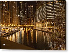 Chicago At Night Acrylic Print by Daniel Sheldon