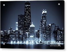 Chicago At Night With Hancock Building Acrylic Print by Paul Velgos