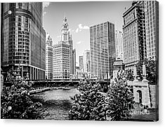 Chicago At Wabash Bridge Black And White Picture Acrylic Print by Paul Velgos