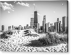 Chicago Beach And Skyline Black And White Photo Acrylic Print by Paul Velgos